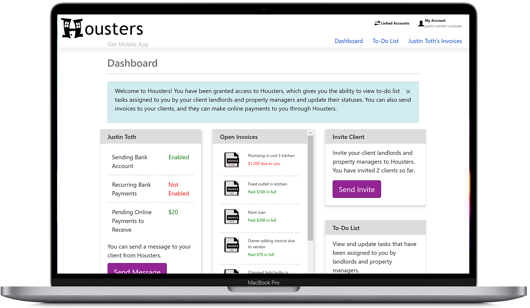 View the status of online payments from the contractor portal's main dashboard