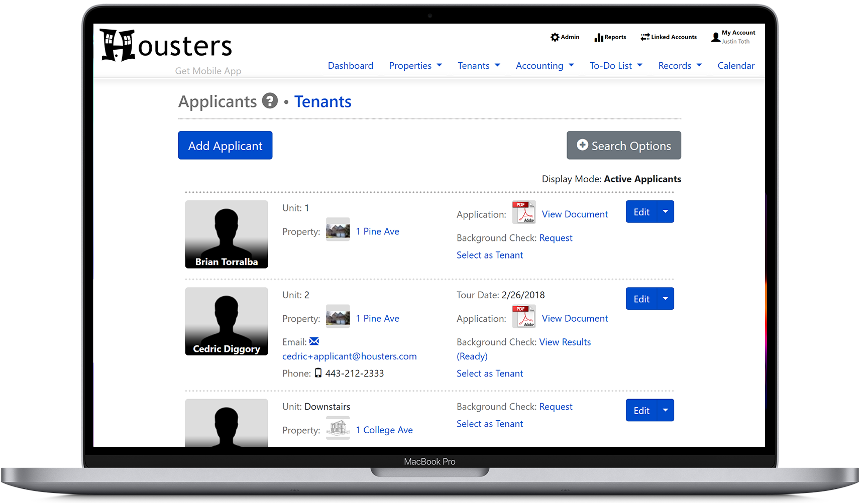 View a list of applicants