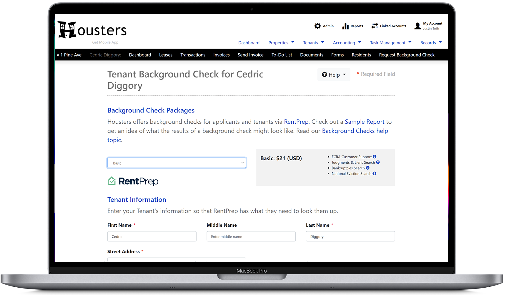 Request a background screening of an applicant