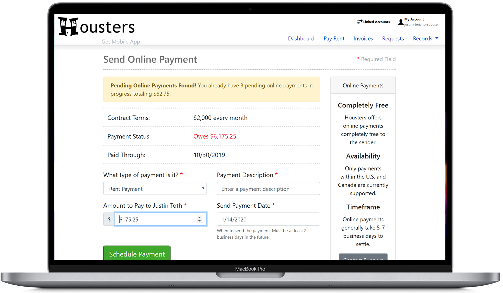 Send an online rent payment from a tenant to a landlord or property manager
