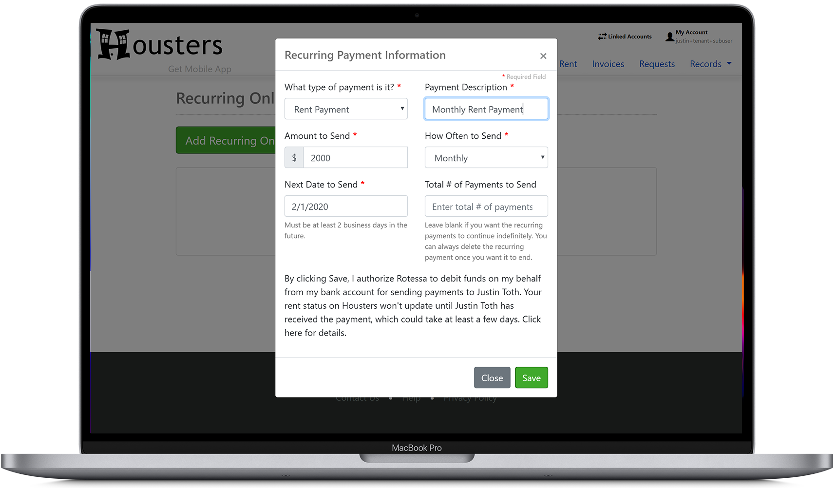 Set up recurring online rent payments from a tenant to their landlord or property manager