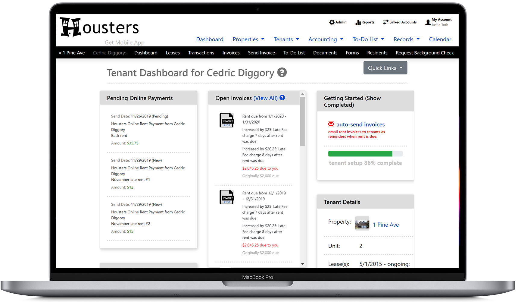 View the tenant dashboard, showing pending online payments, open invoices, and tenant details