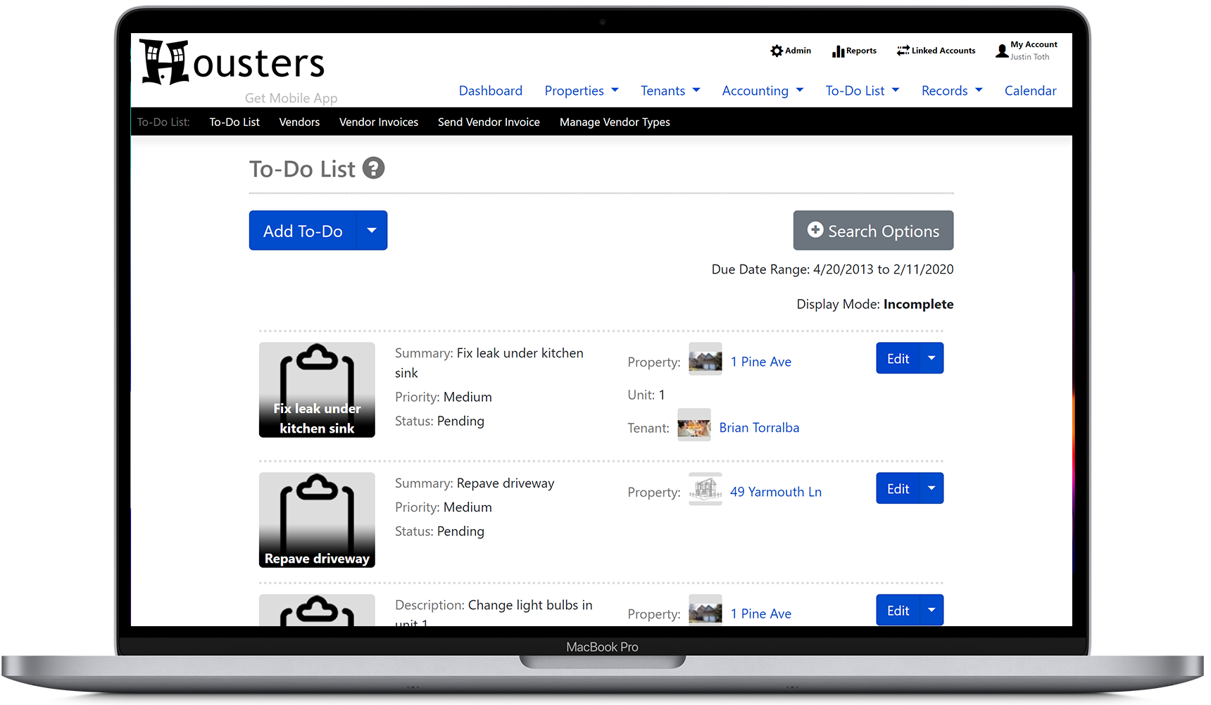 View a list of to-do list tasks on the Housters property manager software