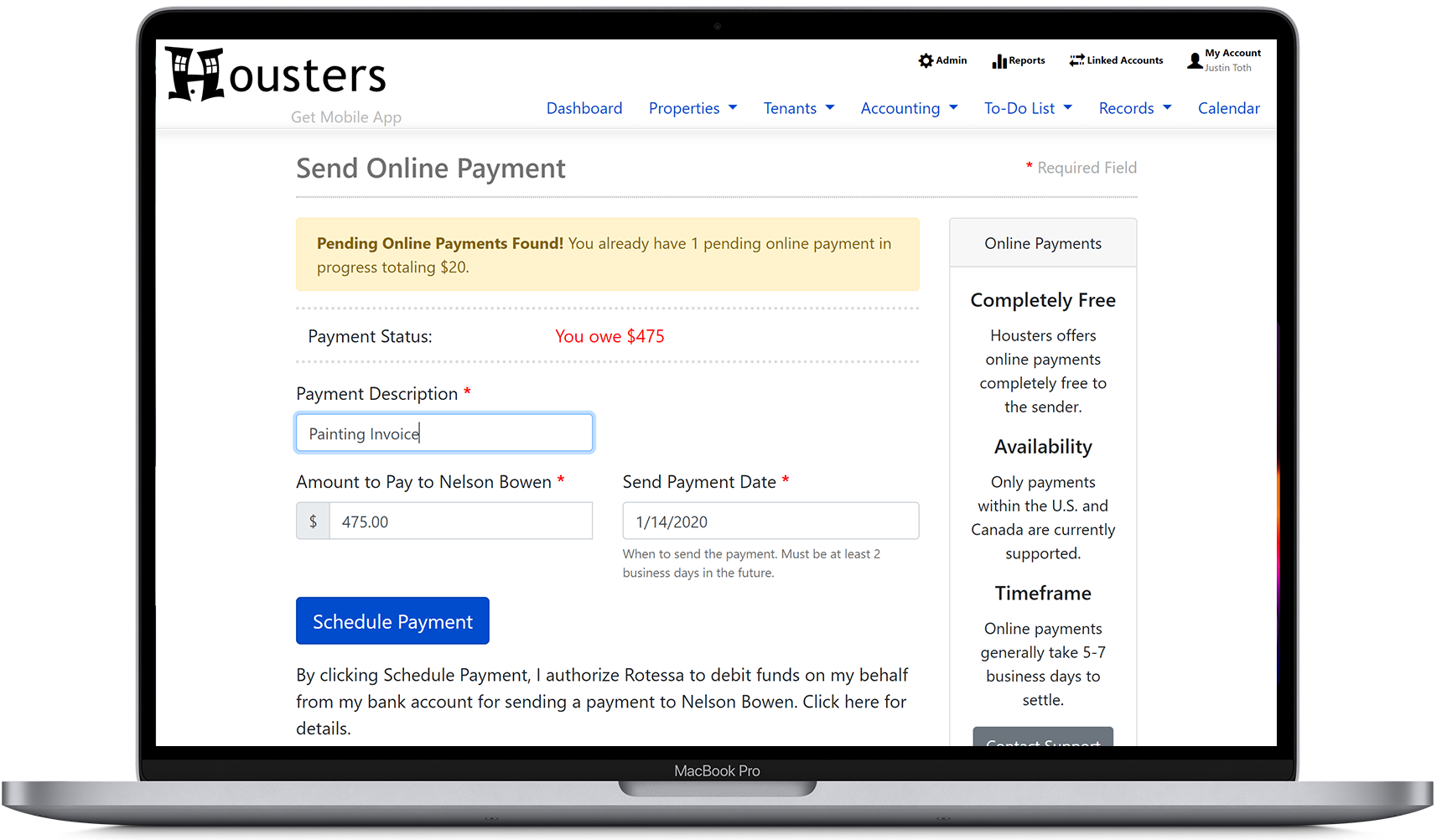 Landlords and property managers can send online payments to contractors from Housters' property manager software