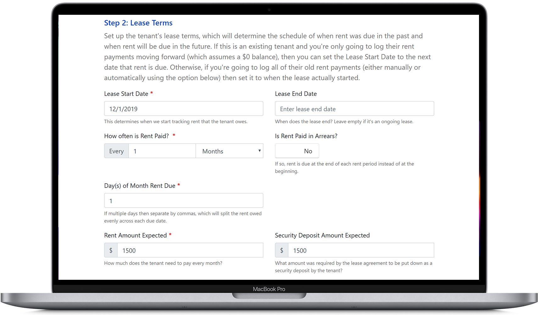Set up the lease terms for a tenant