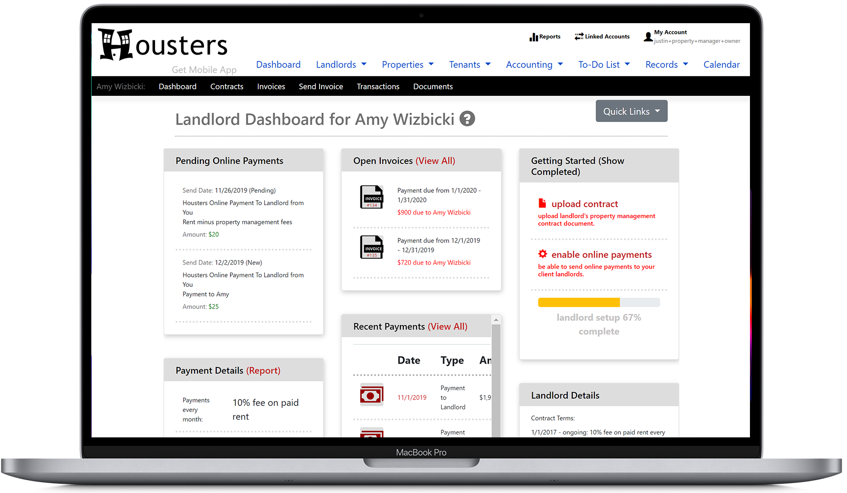 View the landlord dashboard, showing pending online payments, open invoices, and landlord details