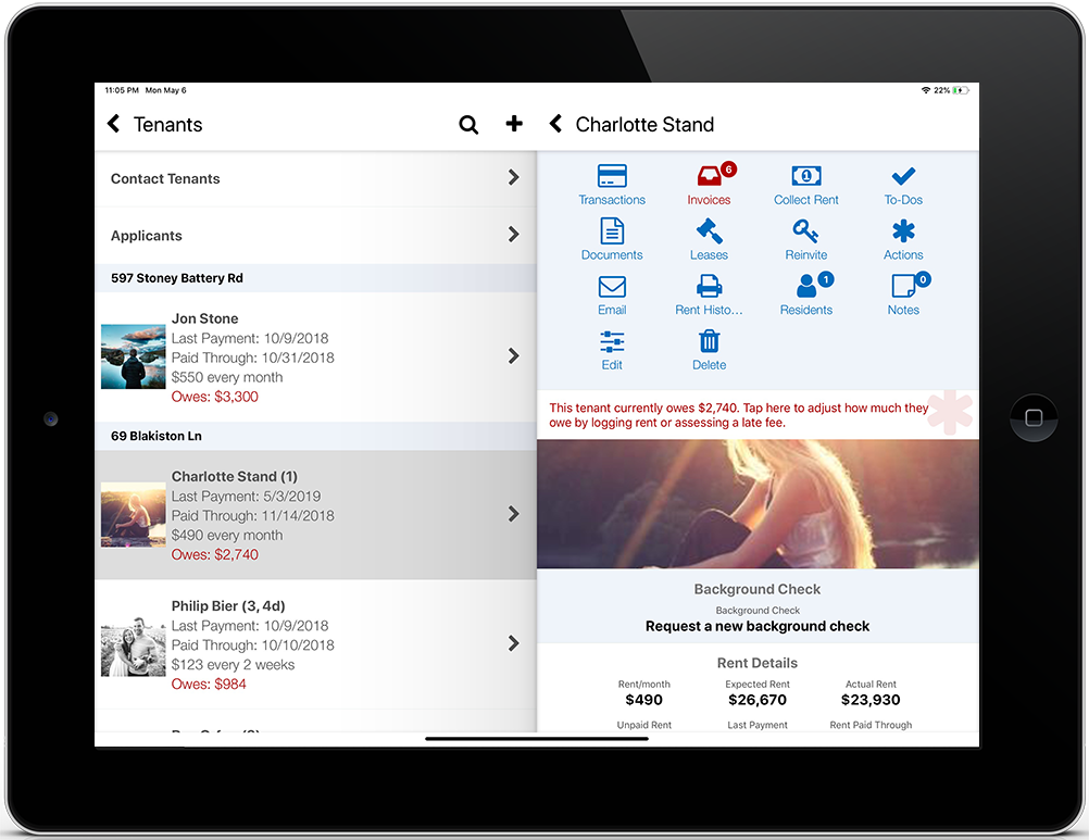 iPad screenshot of the tenant list and tenant details screens