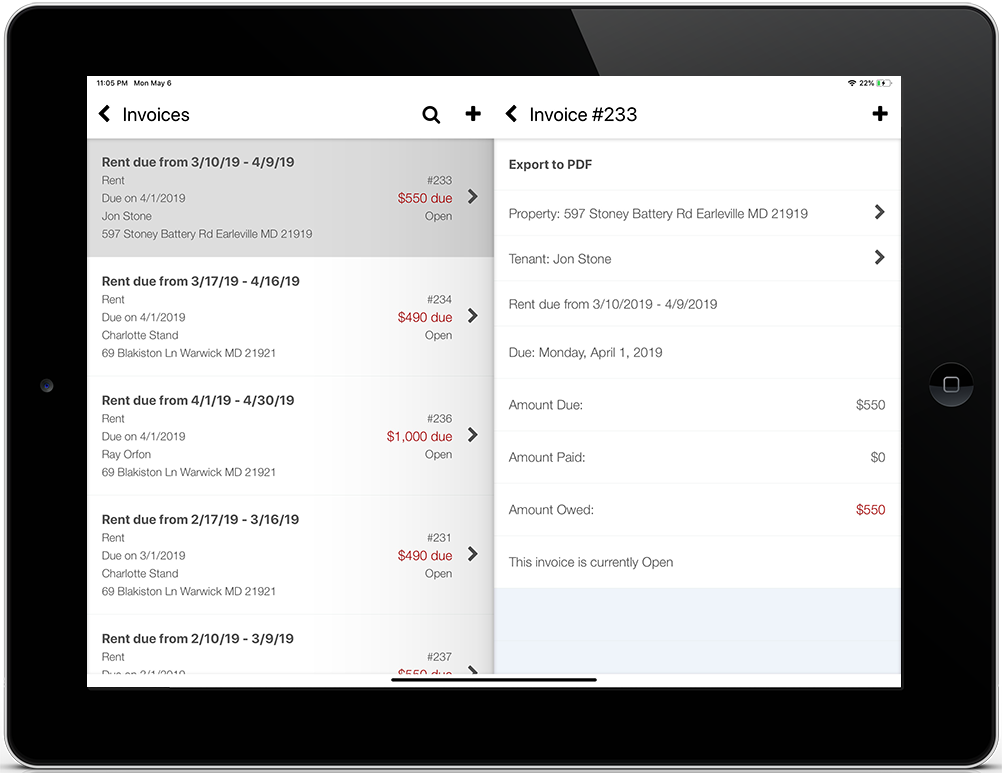 iPad screenshot of a tenant's rent invoice list and invoice details screens