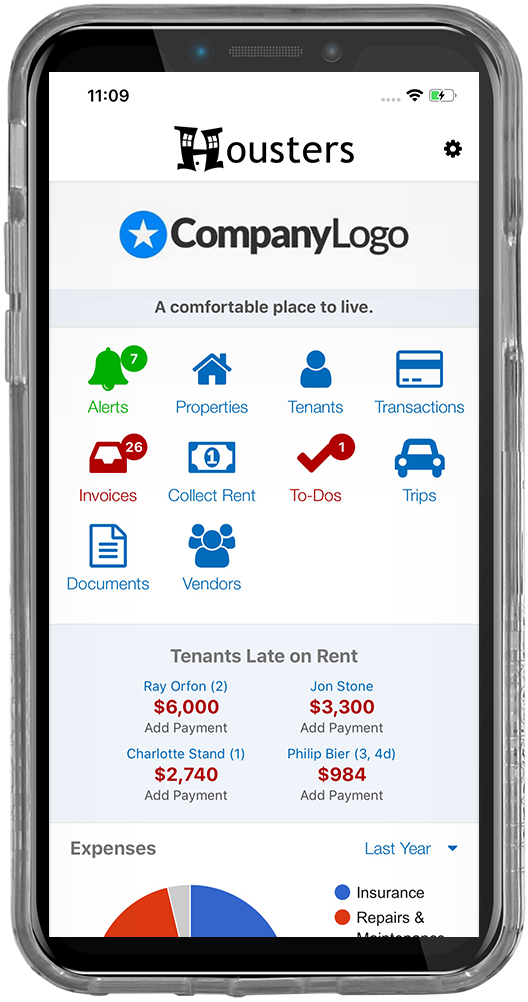 iPhone screenshot of the main dashboard screen