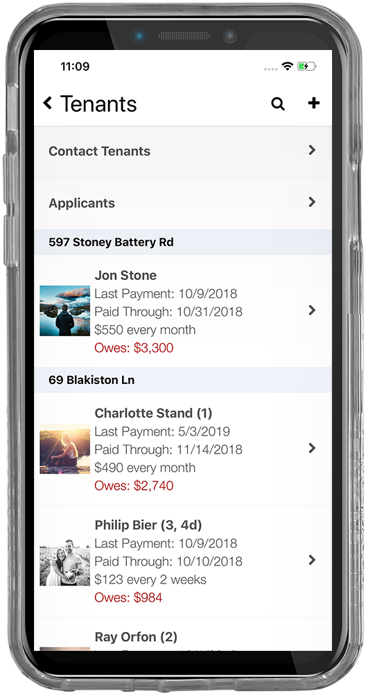iPhone screenshot of the tenant rent tracking