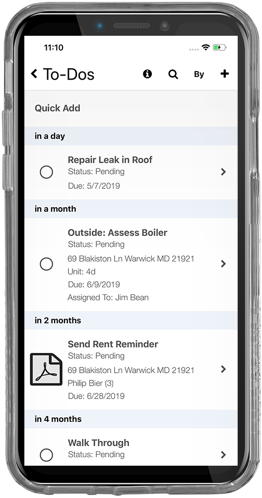 iPhone screenshot of the tenant security deposit tracking