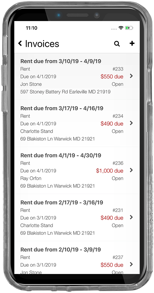 iPhone screenshot of a tenant transaction tracking