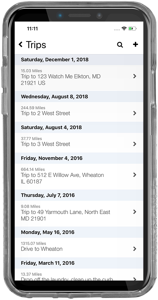 iPhone screenshot of the tenant tracking screen